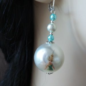 Tinker Bell Printed Bead Lever Back Earrings